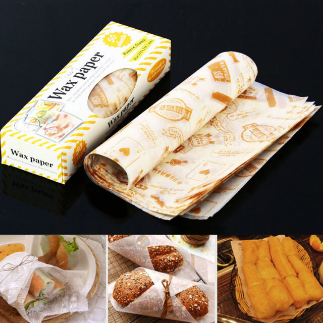 50 pcs Wrapping Waxed Paper for Gift Sandwich Cookie Candy Greaseproof Non Stick
