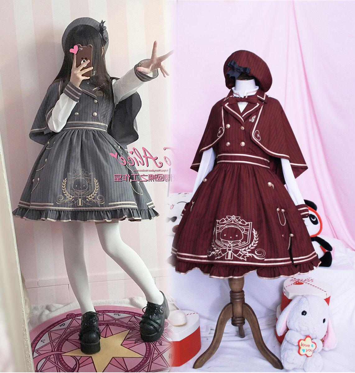 Harajuku Vintage Sweet Lolita Preppy Style Palace Princess Cloak Dress Moe H-314