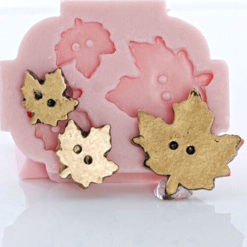 726 Silicone Maple Leaf Button Mold Resin Polymer Clay Epoxy Fondant Mint Candy