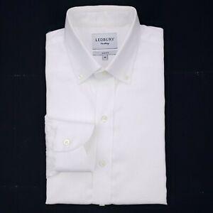 Ledbury-Slim-Fit-White-Dress-Shirt-16-Mens-Size-Fine-Shirting-Button-Down-Collar