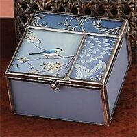 Robin Antique Blue Square Jewelry Box
