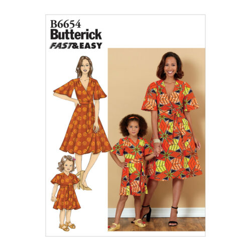Easy Butterick 6654 Sewing Pattern to MAKE Wrap Over Dress for Adult /& Child V