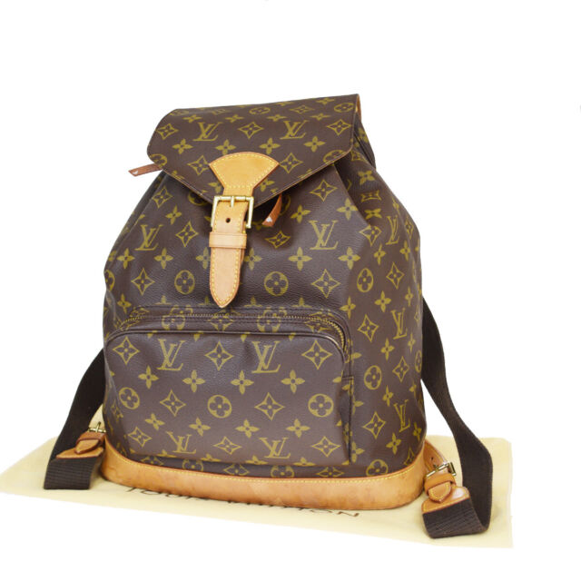 Auth Louis Vuitton Monogram Montsouris Gm M51135 Backpack Brown Leather For Sale Online Ebay