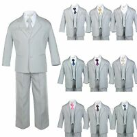 Baby Toddler Teen Formal Tuxedo Boy Suit Gray + Tie 6pc Set 9 Color Pick Sz S-20