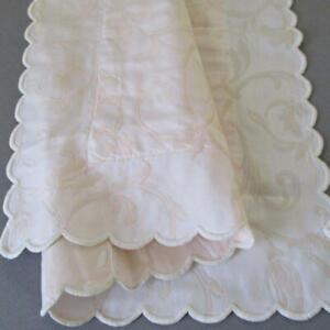 "Fine Vintage SCHWEITZER 21"" Boudoir Pillow Sham Pale PINK Damask Scalloped ITALY"