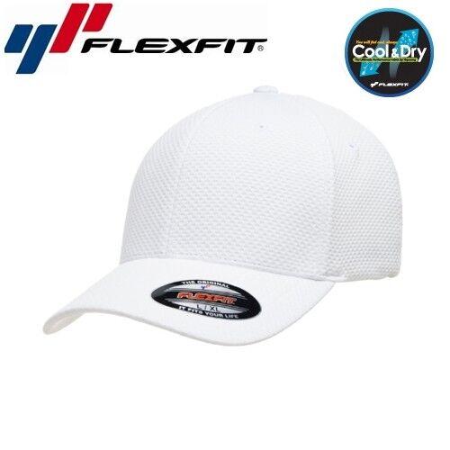 Flexfit Cool and Dry 3D Hexagon Jersey Baseball Cap S/M Weiß Funsport