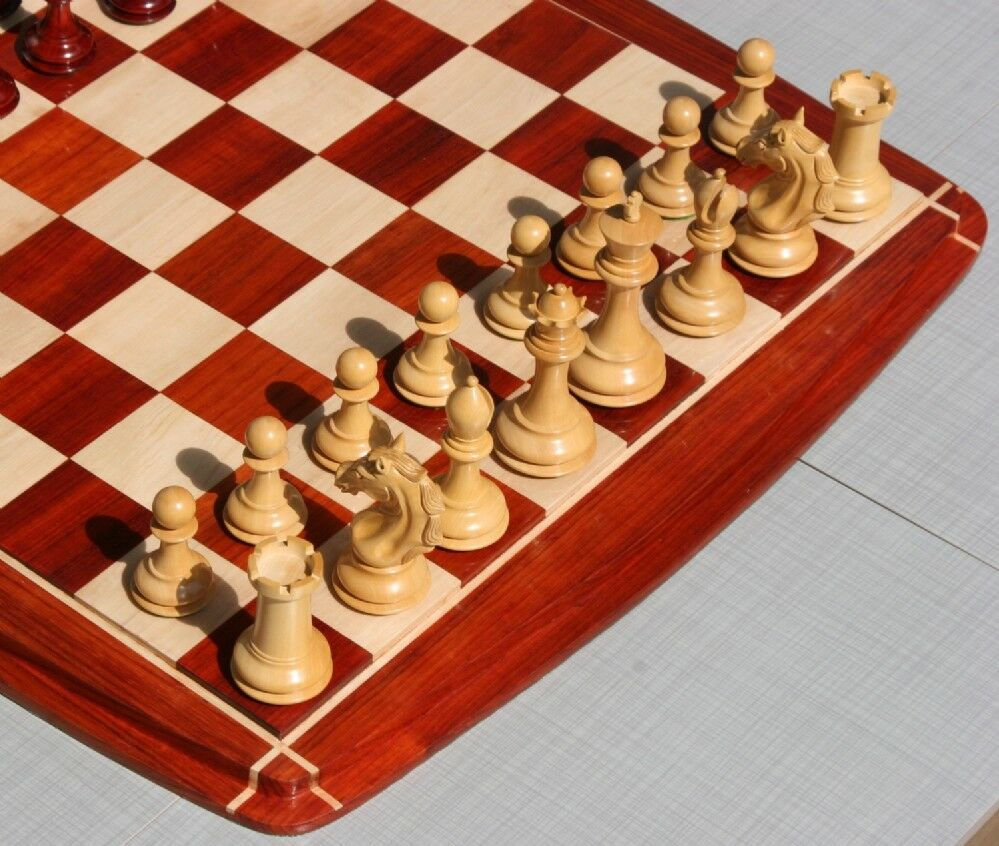 Magnificent 22  luxury chessboard made of solid exotic woods with 2.2  squares.