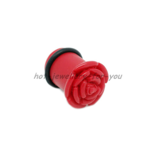 Rose Shape Flesh Tunnel Acrylic Ear Plug Tapper Stretcher Expander 4 colours