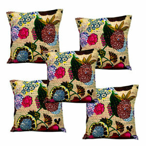 SET OF 5 16 X 16 INCH SQUARE BIEGE ETHNIC COTTON PILLOW CASE THROW CUSHION COVER