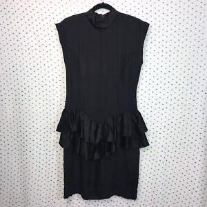 All-That-Jazz-Size-9-Vintage-Black-Peplum-Ruffled-Dress-Turtleneck-Sleeveless