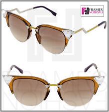 7136ce60447c2 FENDI IRIDIA Crystal FF0041S Havana Gold Mirror Blue Cat Eye Sunglasses 0041