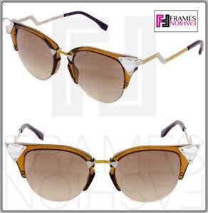f61c0135705f Image is loading FENDI-IRIDIA-Crystal-FF0041S-Havana-Gold-Mirror-Blue-