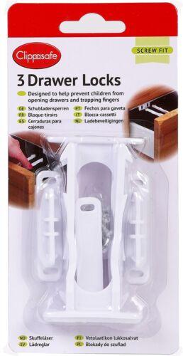 Clippasafe 3 x DRAWER//CUPBOARD LOCKS Baby//Child Safety Proofing BN