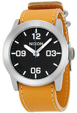Nixon A0491602 Private Black Dial Tan Leather Strap Men's Watch