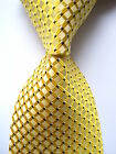 New Classic Checks Yellow Black White JACQUARD WOVEN 100% Silk Men's Tie Necktie