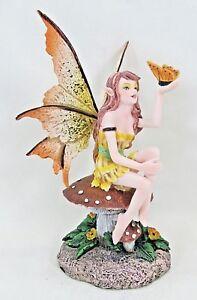 Fairy On Mushroom W Golden Butterfly Fantasy Decor Decorative Collectibles Ebay