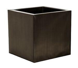 Zinc galvanised cube planter plant pot decoration 2 sizes for Decoration zinc