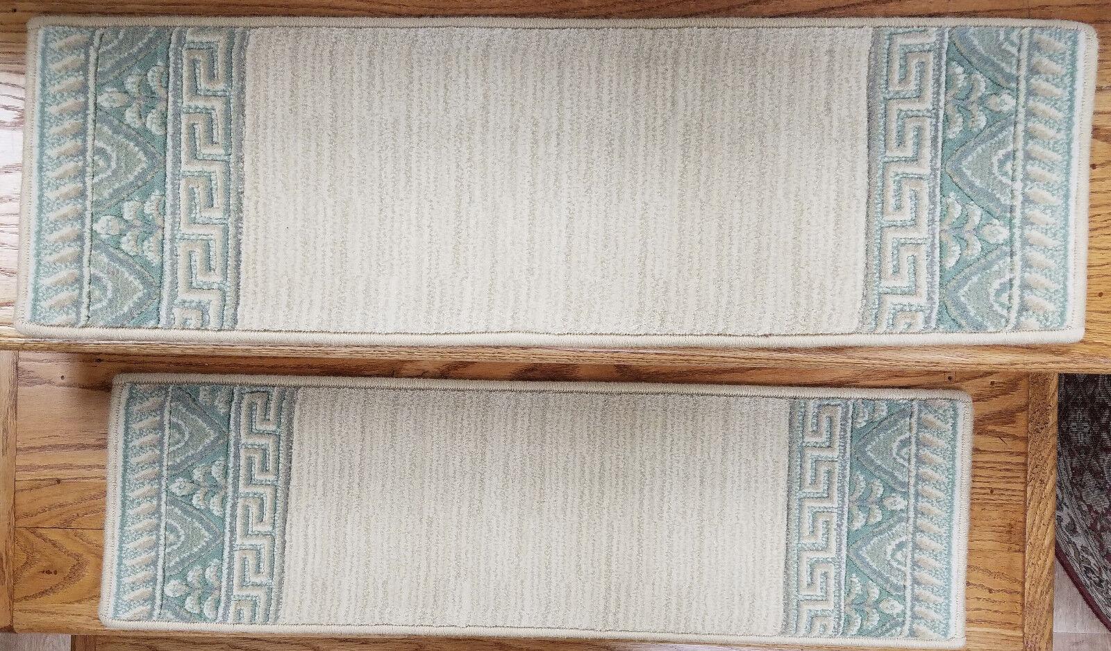 Rug Depot 13 European Border Non Slip Carpet Stair Treads 30  x 9  Ivory Wool