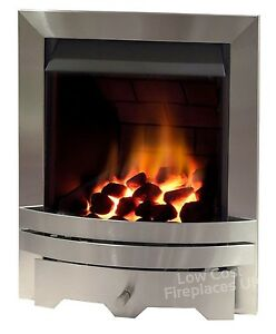 Silver Chimney Coal Fireplace Inset Insert Contemporary Slimline Modern Gas Fire Ebay