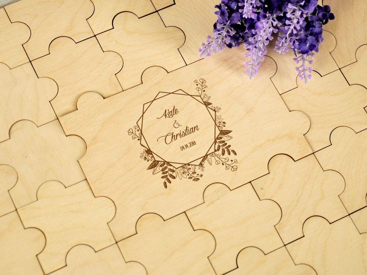 Wedding Guestbook Alternative Guest Book Rustic Custom Puzzles Guest Book Jigsaw Puzzles Custom ffe4c7