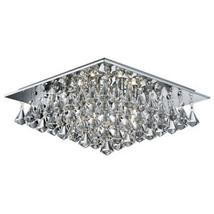Hanna-Chrome-6-Light-Ceiling-Fitting-Home-Lighting-With-Clear-Crystal-Drops-New