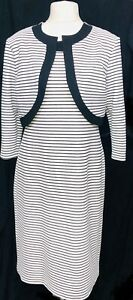 Womens-White-Stripe-Dress-With-Bolero-Jacket-For-Church-Party-Formal-Occasions