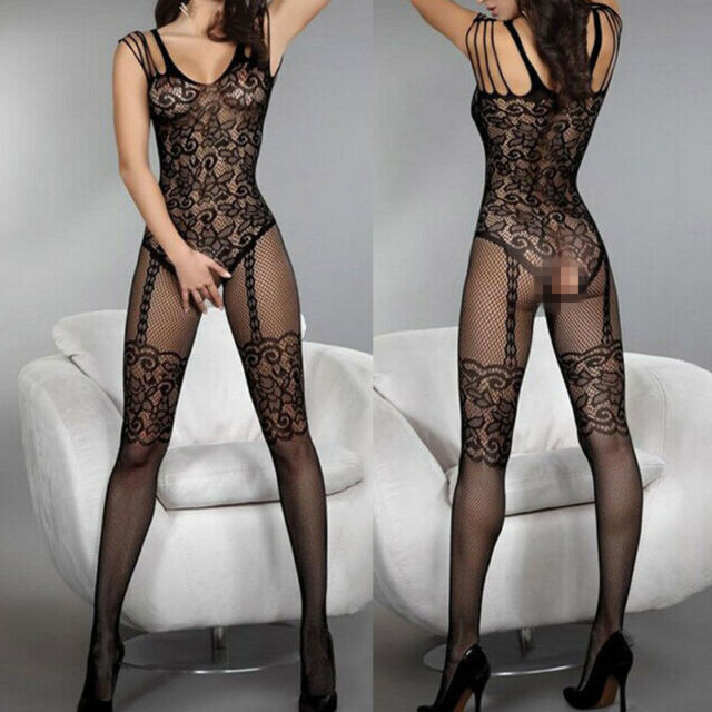 Women Sexy Open Crotch Body Stockings Crotchless Fishnet Sheer Bodysuit Lingerie