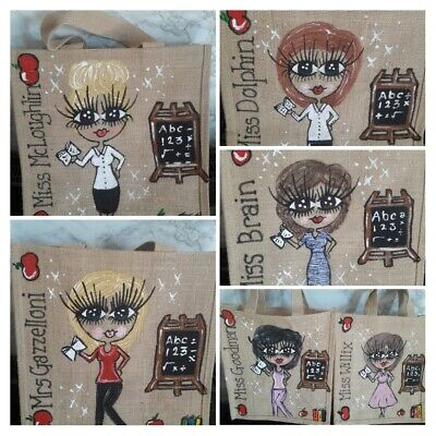 PERSONALISED HAND PAINTED TEACHERS GIFT LARGE JUTE BAG ANY Theme Music Maths Etc