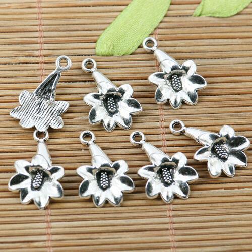 34PCS tibetan silver color flower design charms EF2353