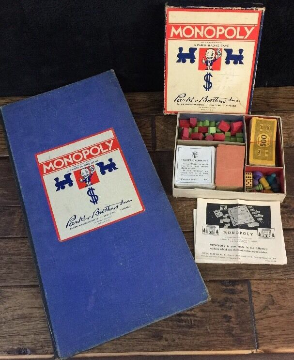 Vtg Monopoly Small Box Wooden Pieces Board All Deed Cards Dice Instuctions