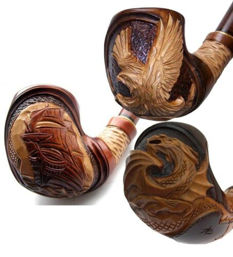 HAND CARVED EXCLUSIVE LARGE TOBACCO SMOKING PIPE PEAR VARIOUS DESIGNS AVAILABLE