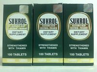 3 Sukrol Dietary Supplements 100 Tabs Each / Suplemento Alimenticio Sukrol