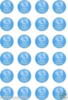 24x PRECUT PERSONALISED BABY SHOWER BLUE BOY FEET RICE PAPER CUP CAKE TOPPERS