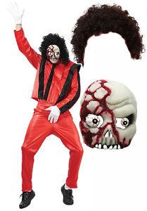 Image is loading Michael-Jackson-Thriller-Fancy-Dress-80s-Halloween-Costume-  sc 1 st  eBay & Michael Jackson Thriller Fancy Dress 80s Halloween Costume Afro + ...