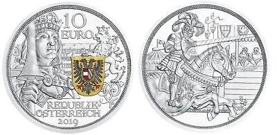 10 Euro Autriche 2019 Argent Be – Chevalerie / Collection Knights' Tales Een Grote Verscheidenheid Aan Modellen