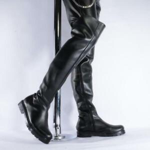 on feet images of select for newest how to purchase Details about Sexy Mens Riding Black Over Knee High Combat Dance Shoes  Motorcycle Boots Club