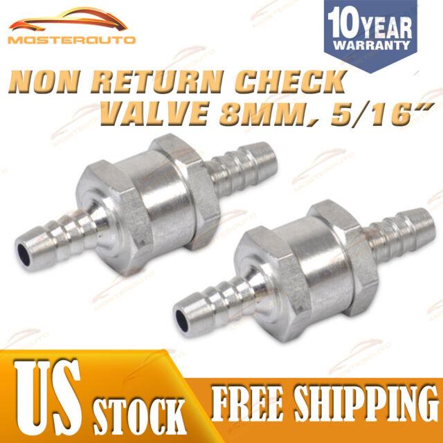 2x 10mm Aluminium Non Return Check Valve One Way Petrol Fuel Diesel Chrome Car