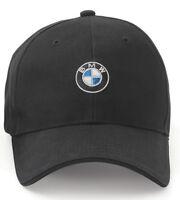 Bmw Men's Baseball Cap, Roundel Logo Hat, 6 Panel Cotton Twill Black 80162208705