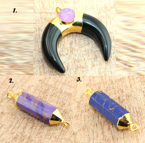 Black Spinel /& Druzy Connector Making Royal Jewelry @FREE SHIPPING Turquoise