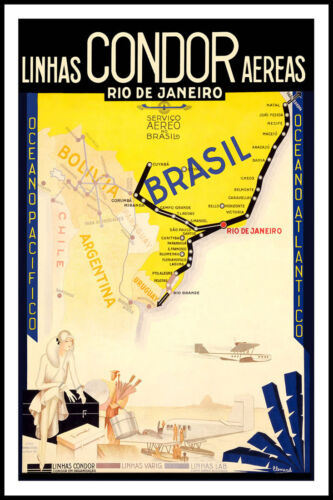 Vintage Travel Art -Rio De Janero-Brazil- 24 x36 Art on Canvas