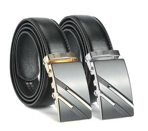Men/'s Genuine Leather Automatic Buckle Black Waist Strap Belt Waistband