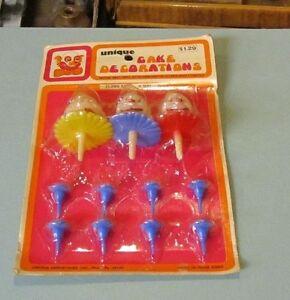 Vintage-1960-039-s-Unique-Cake-Decorations-Clown-Set-8891-NOS-3-Clowns-8-Candle-Hld
