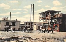Ardmore Oklahoma~Ice Company Plant~Delivery Wagons & Horses~Giant Fan~1910 PC
