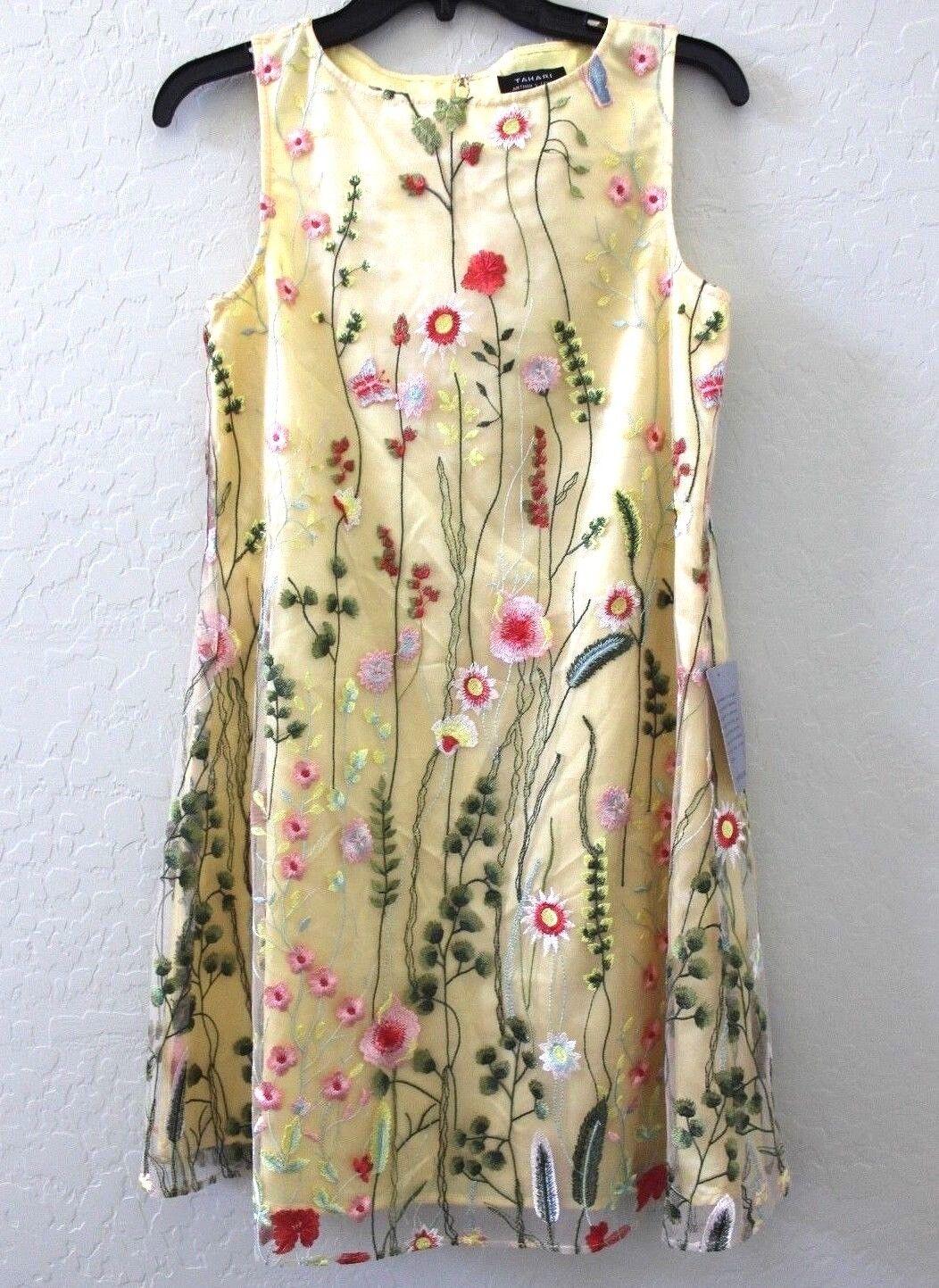 TAHARI ASL Gold Gelb Sleeveless Floral Embroiderot Shift Dress Größe 2