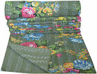 INDIAN KANTHA GREEN FLORAL QUILT BEDSPREAD THROW Vintage Decor Ethnic India Art