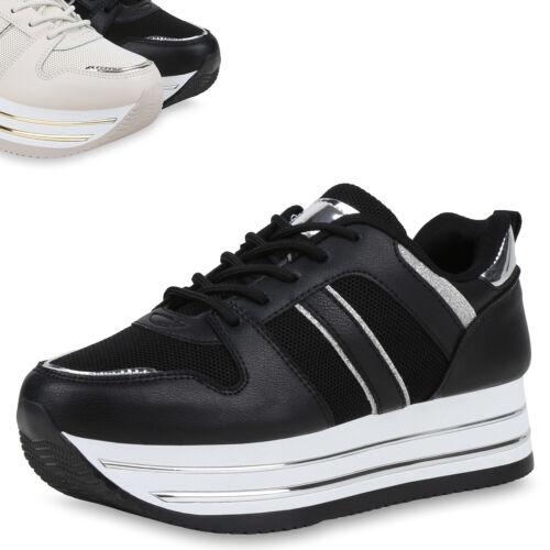 Damen Plateau Sneaker Freizeitschuhe Schnürer Glitzer Plateauschuh 899307 Top