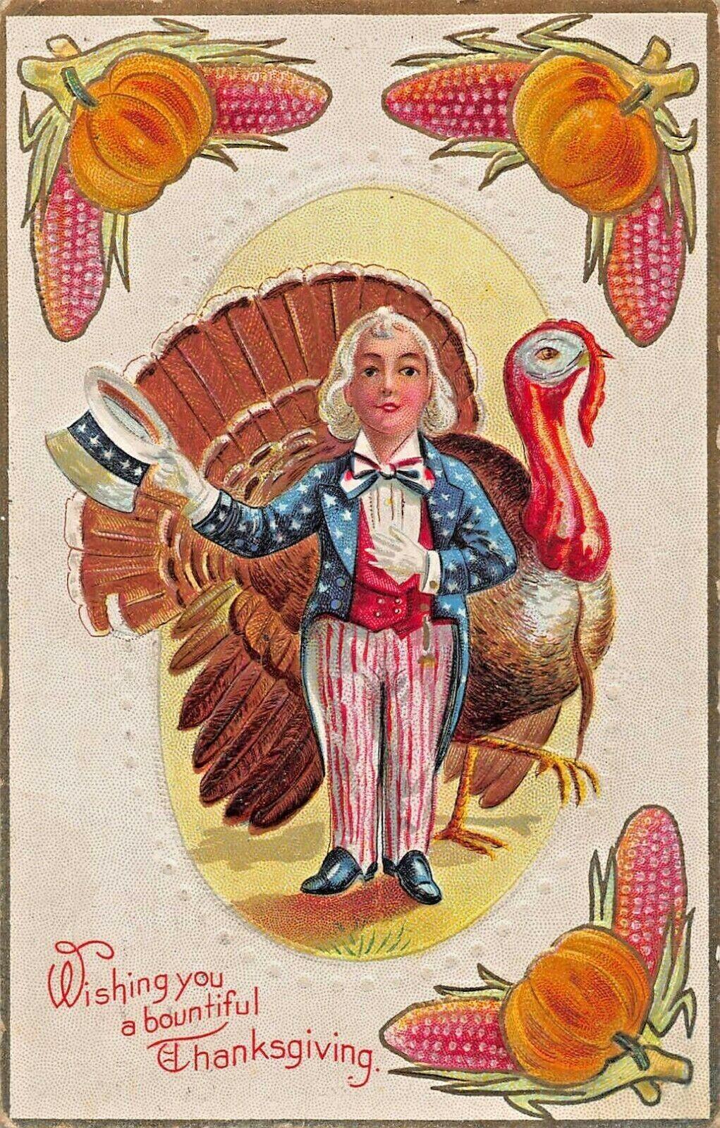 PATRIOTIC BOUNTIFUL THANKSGIVING~UNCLE SAM-PUMPKIN BORDER EMBOSSED 1910 POSTCARD