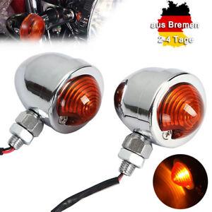 2x-Chrome-Motorrad-Kugel-Blinker-Turn-Signal-Licht-Anzeigeleuchte-Fit-Fuer-Harley