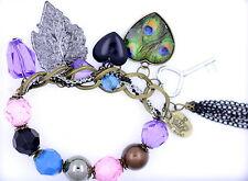 Vintage peacock eye feather heart key leaf chain bracelet