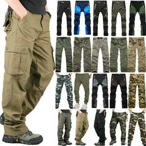BYWX Men Cargo Camouflage Cotton Outdoor Multi-Pocket Casual Pants Trousers